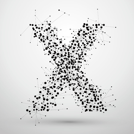 socially: Letter points and lines formed,The letters X. Illustration
