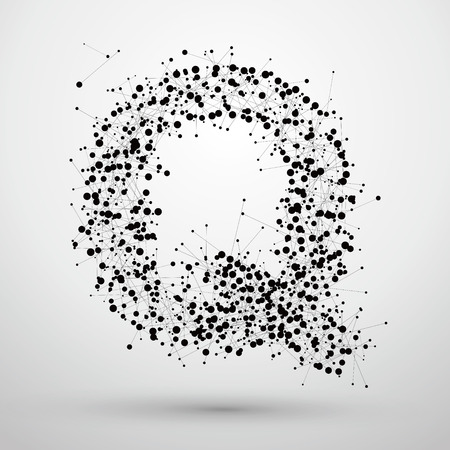 socially: Letter points and lines formed,The letters Q. Illustration