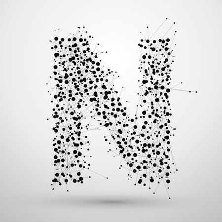 A apunta y líneas formadas, las letras N.