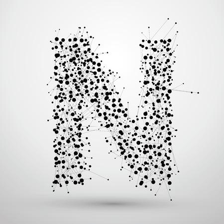 points de lettres et les lignes formées, Les lettres N.