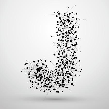 文字ポイントとラインを形成、手紙 j.  イラスト・ベクター素材