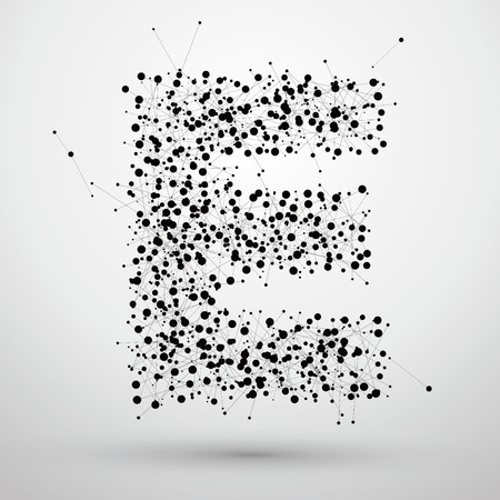 Letter points and lines formed,The letters E.