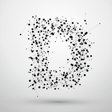 Letterpunten en lijnen gevormd, De letters D.