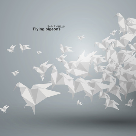 flying paper: Flying paper dove, vector illustration