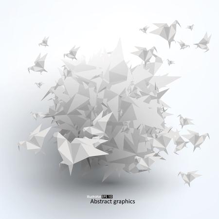 accumulation: Graphics abstract origami dove accumulation Illustration