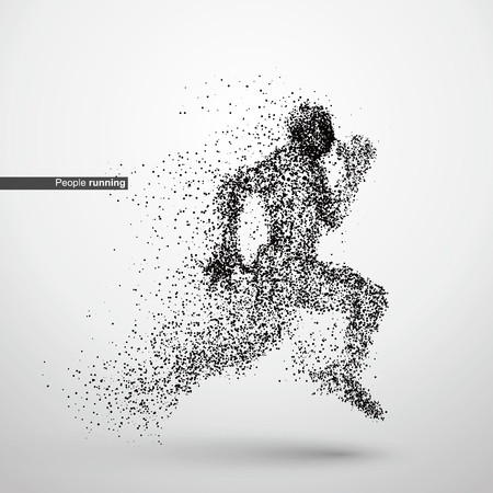 divergent: People running, particle divergent composition, vector illustration