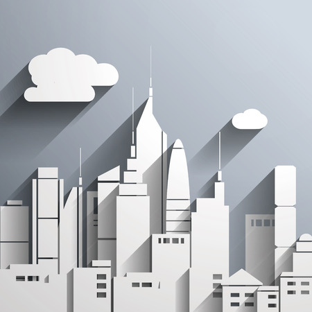 Paper-cut style city illustration.