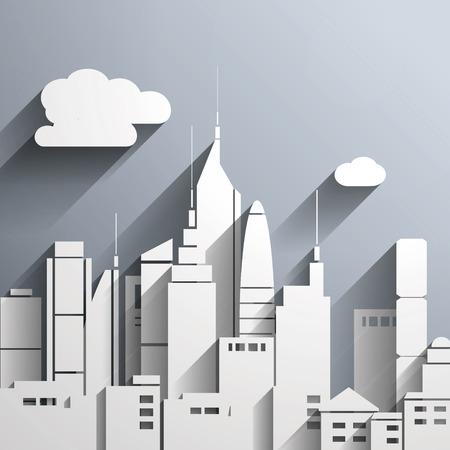 Papier-cut stijl stad afbeelding.