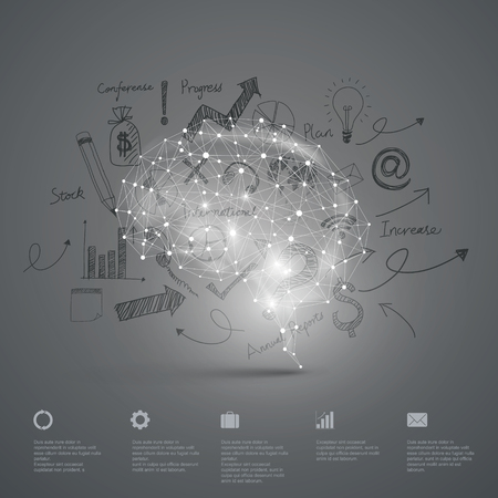 Vector Graphics,Brain, Abstract background.