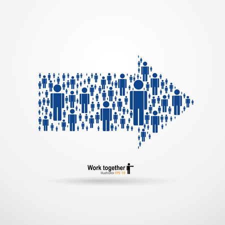 work together: Work together,Large group of people in the form of arrows, business, and technology. Vector Graphics Illustration