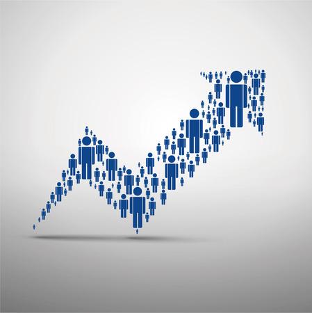 Grote groep mensen in de vorm van pijlen, business en technologie. Geïsoleerd. Stockfoto - 53344450