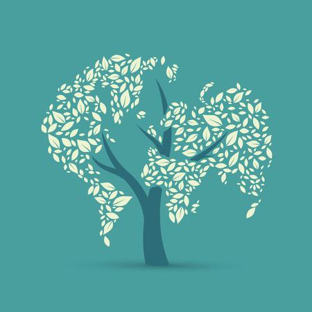 regeneration: Earth by leaves, vector illustration