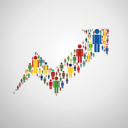Large group of people in the form of arrows, business, and technology. Isolated.