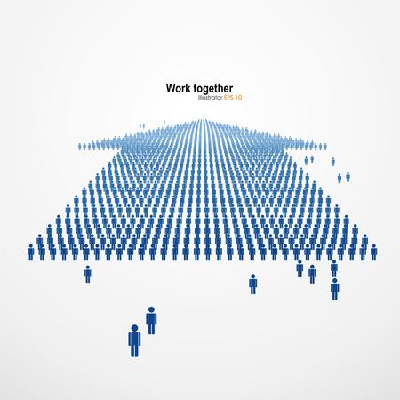Werk samen, Grote groep mensen in de vorm van pijlen, business en technologie. vector Graphics