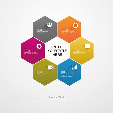 벡터 infographics입니다. 서식지도, 도면, 프리젠 테이션 및 그래픽. 6 에지 비즈니스 개념과 모양 옵션, 부품, 단계 또는 프로세스. 추상적 인 배경입니다.