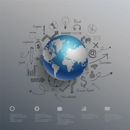 world globe: World map info graphics. Illustration.