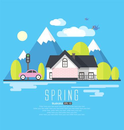 coastal: Spring countryside, tourism, flat style illustration