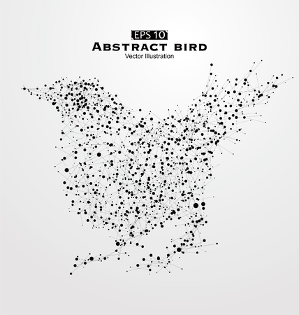 Abstract bird, consisting of points and lines.
