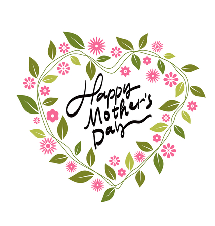 font design: Mothers Day-themed wreath, font design.