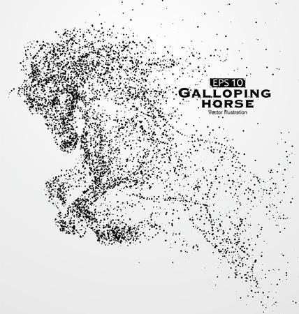 Galloping cavallo, particelle, illustrazione vettoriale.