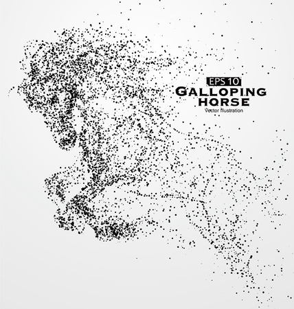 subduction: Galloping horse,particles,vector illustration.