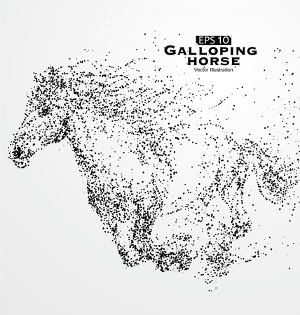 galloping: Galloping horse,particles,vector illustration.