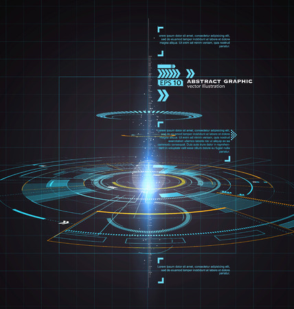 Driedimensionale interface technologie, science fiction scene. Stock Illustratie