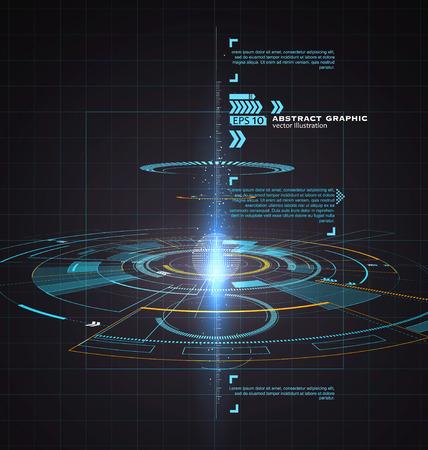 Trójwymiarowa technologia interfejs, science fiction scenie.