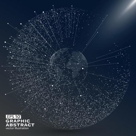 komunikacja: Świat punkt na mapie, wiersz, skład, reprezentujących globalne, globalne połączenia sieciowego, międzynarodowe znaczenie. Ilustracja