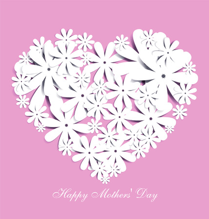 white flowers: Mothers Day-themed heart-shaped graphic design.