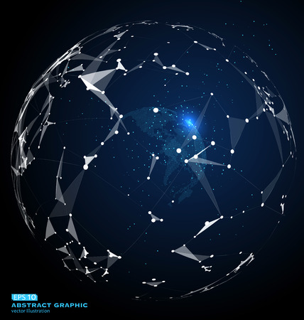 World map point, line, composition, representing the global, Global network connection, a sense of science and technology, international meaning. Illustration