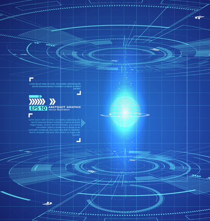 Driedimensionale interface technologie, science fiction scene. Stock Illustratie