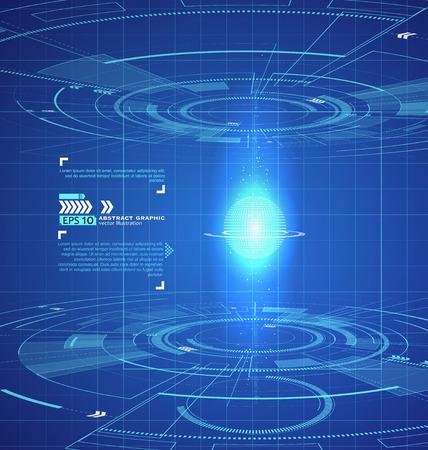 La tecnología de interfaz en tres dimensiones, escena de la ciencia ficción.