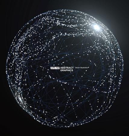 Punto y la curva construyen la esfera de estructura metálica, ilustración abstracta tecnológica.