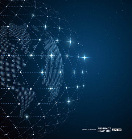 World map, dots and  lines create global  network connection concept background Çizim