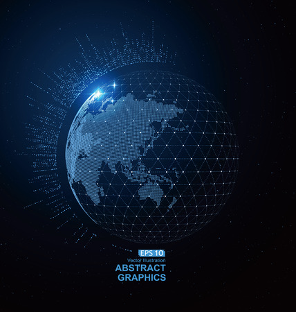 世界地図の点、線、組成、地球を表します。グローバル ネットワーク接続