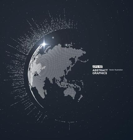 世界地図のポイント、ライン、組成、国際的、グローバル、グローバル ネットワーク接続を表す意味。  イラスト・ベクター素材