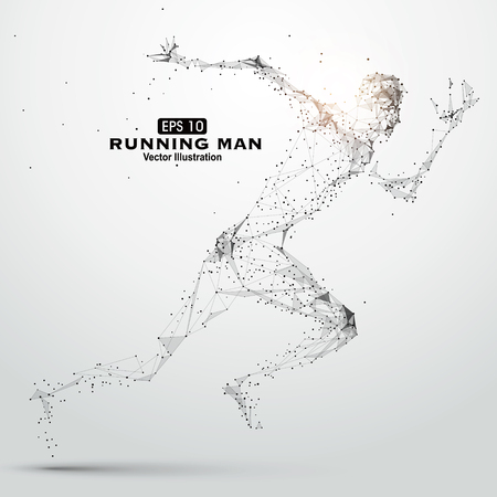 digital data: Running Man, points, lines and connected to form  illustration. Illustration