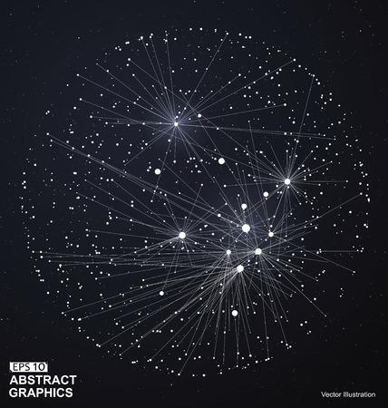 Point e la linea costruito il wireframe sfera, senso tecnologico illustrazione astratta.