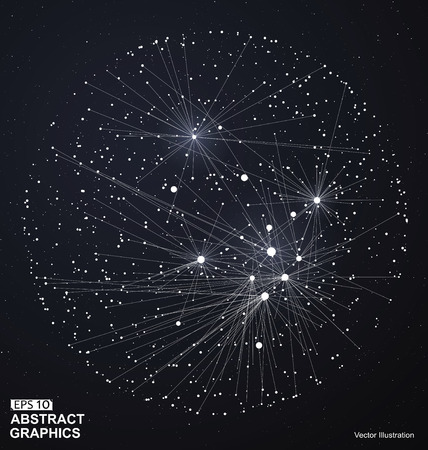 Punto y línea sobre construyen la esfera de estructura metálica, sentido tecnológico ilustración abstracta.