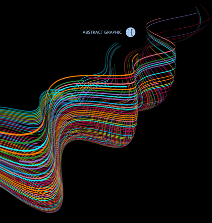 bends: Abstract graphics, Technological sense vector illustration.