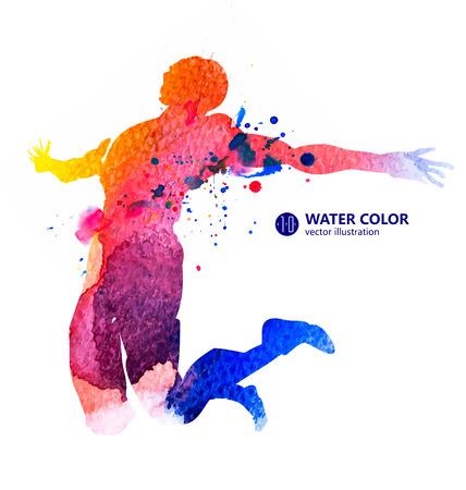 男は、水彩イラストをジャンプします。