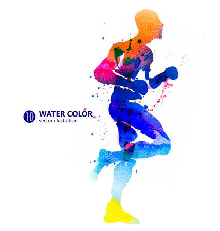 strive: Running Man, watercolor illustrations. Illustration