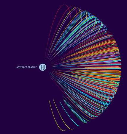 ligh: Three-dimensional sphere composed of multicolored curves, abstract graphics. Illustration