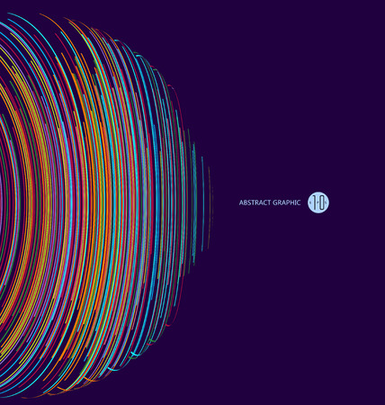 longitude: Three-dimensional sphere composed of multicolored curves, abstract graphics. Illustration