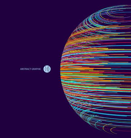 esfera tridimensional compuesta de curvas multicolores, gráficos abstractos.