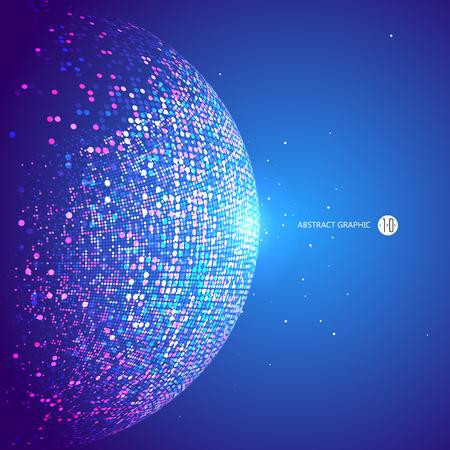 Kleurrijke dots abstracte bol, wetenschap en technologie vector illustratie.