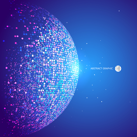 Colorful dots abstract sphere, science and technology vector illustration.