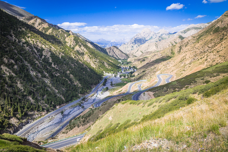 The rugged mountain road. Stock Photo