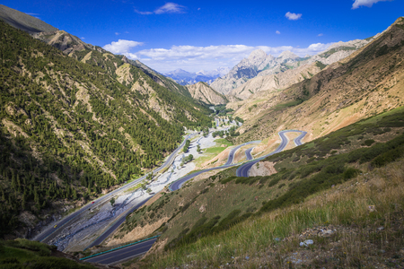 rugged: The rugged mountain road. Stock Photo